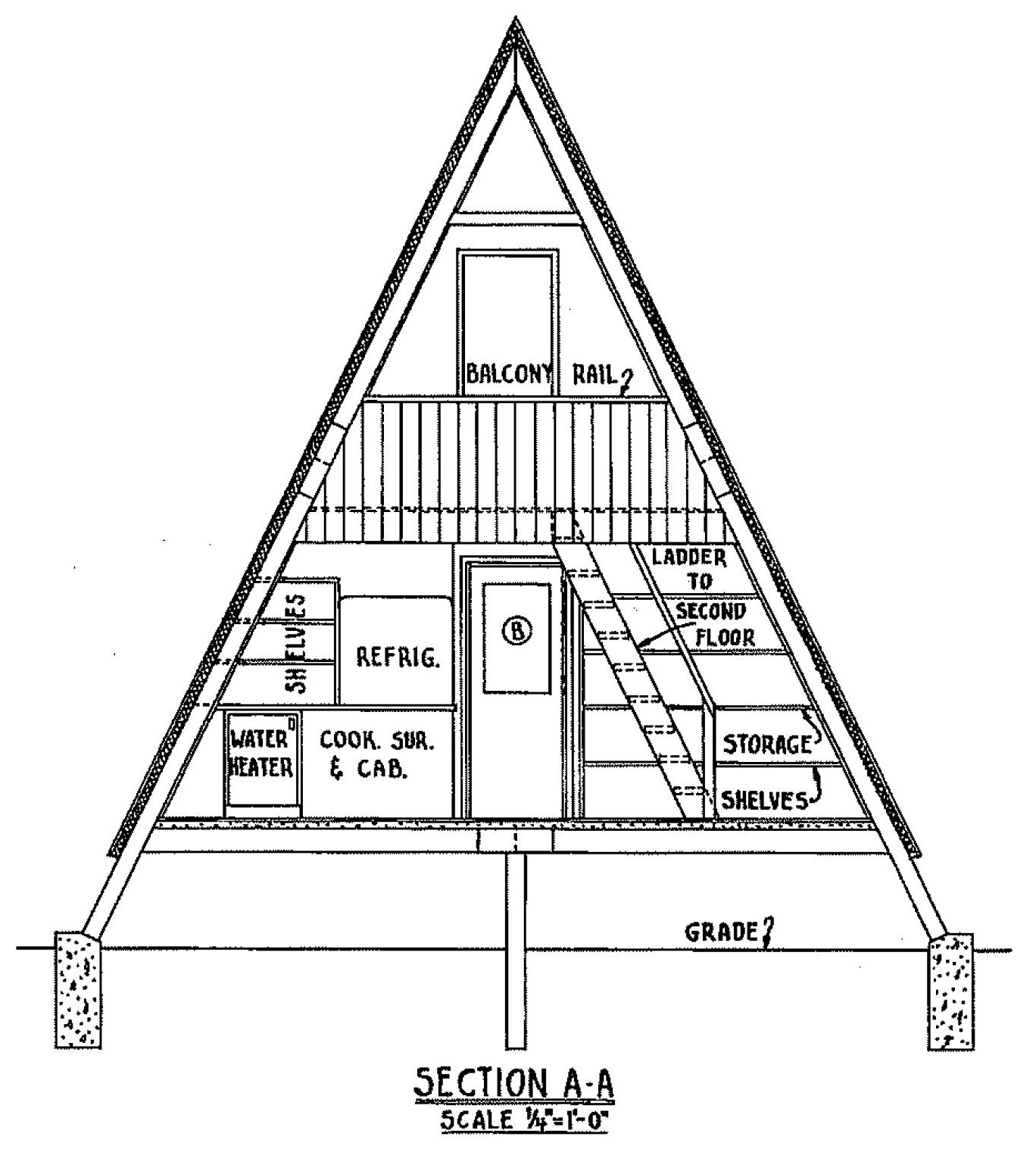Free a frame cabin plan with 3 bedrooms for Cabin house plans free