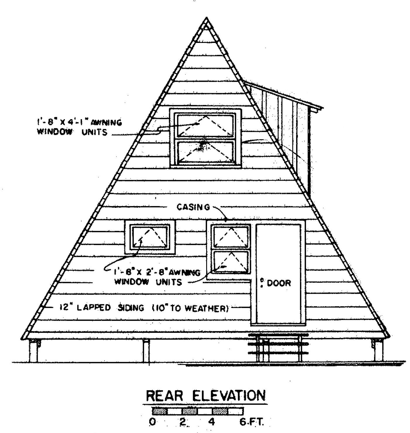 Free a frame house plan with deck for Cabin house plans free