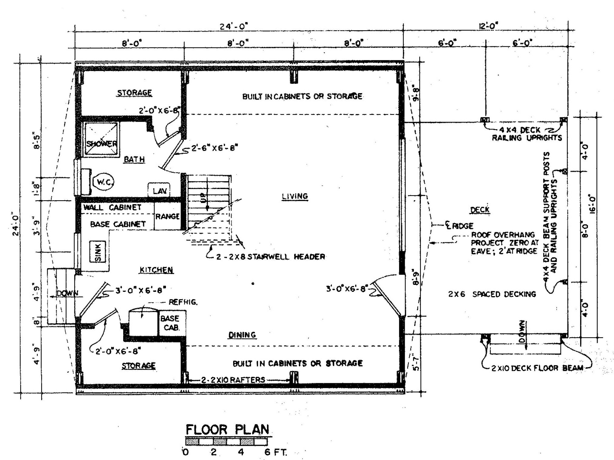 Free a frame house plan with deck for Frame plan