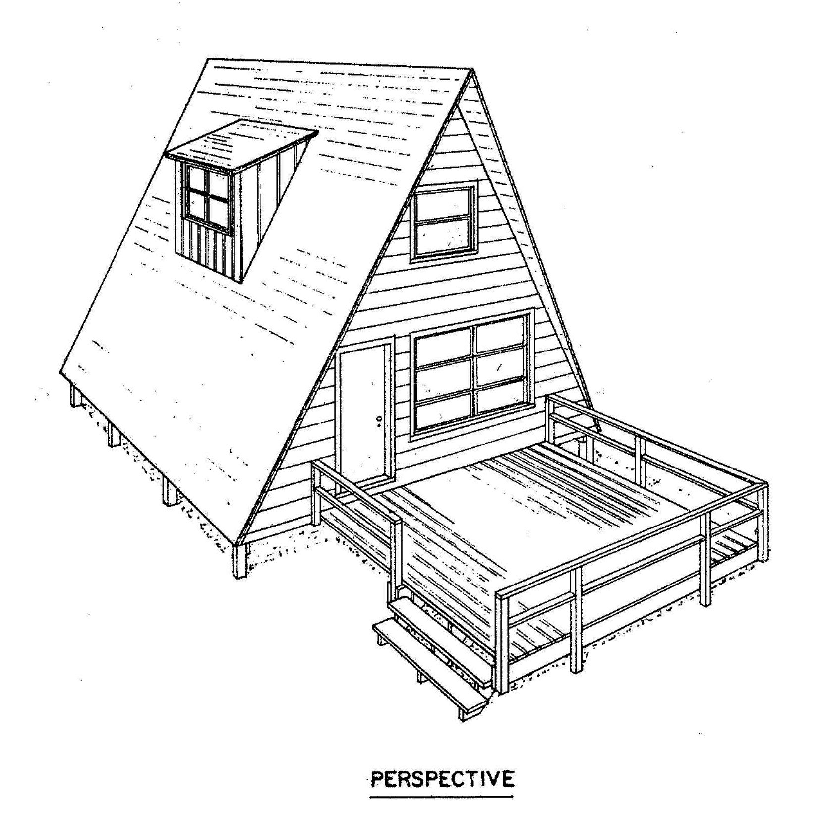 Free a frame house plan with deck for A frame house blueprints