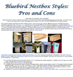 Bluebird Nestbox Styles