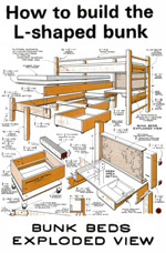 L-shaped Loft Bunk Beds Plans