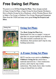 Swing Set Plans Picture
