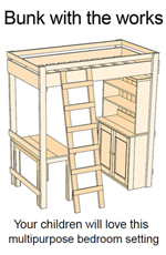 plans to build loft bed with desk