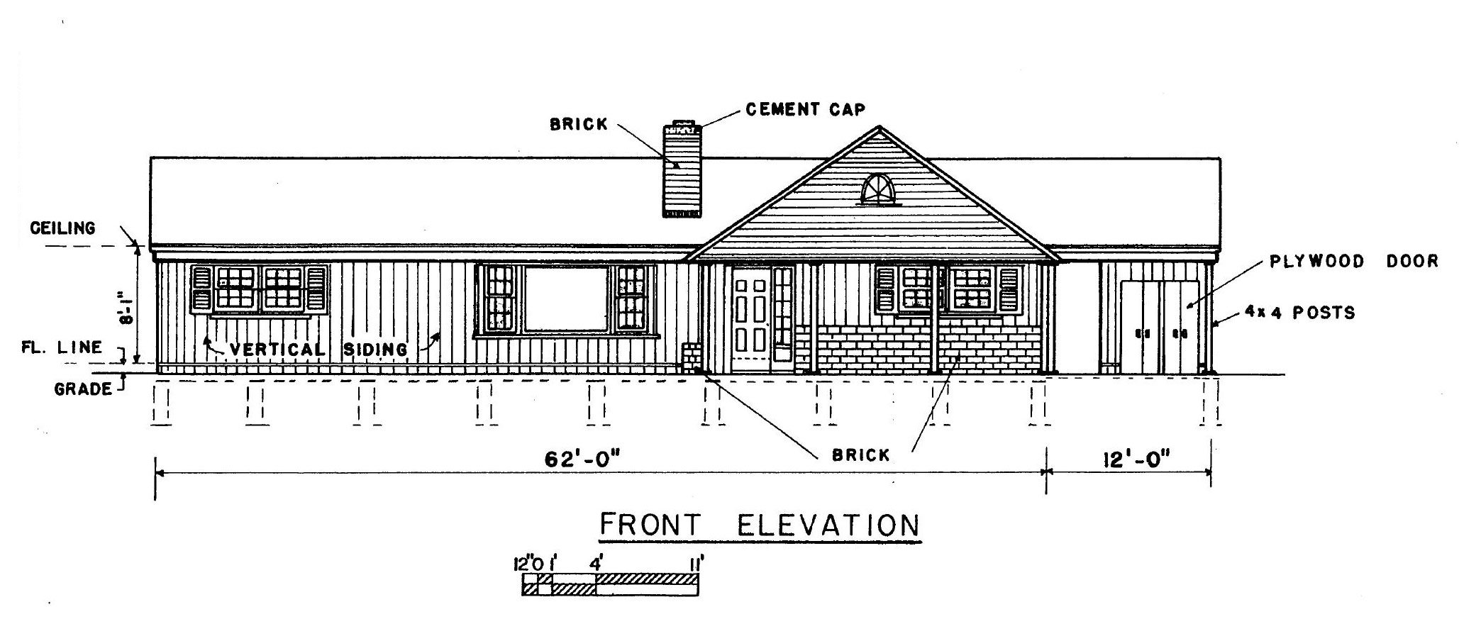 Free 3 bedroom ranch house plans with carport for Home plans with a view to the rear