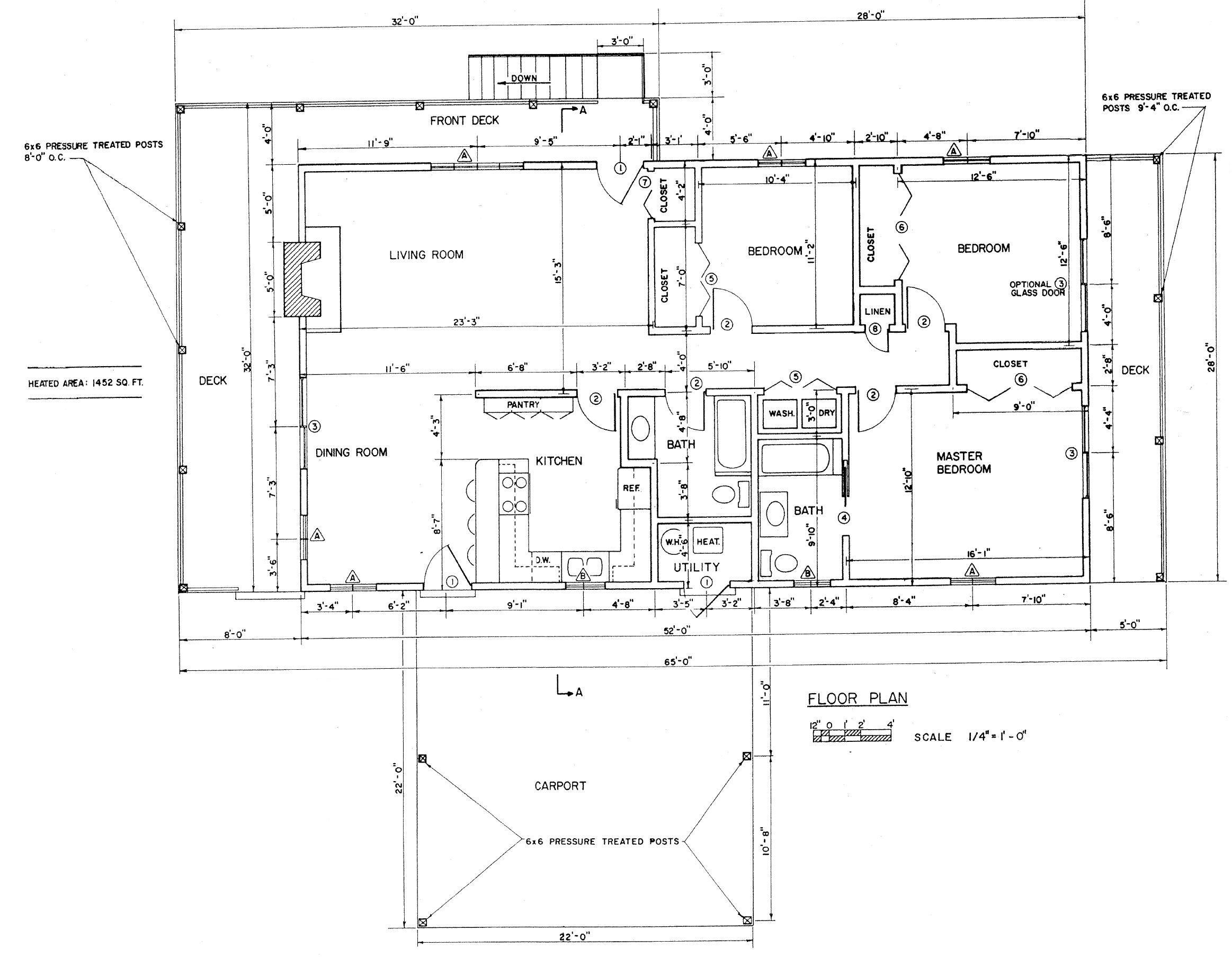 Free 3 bedroom ranch house plan with porch for sloped lot for Free house floor plans