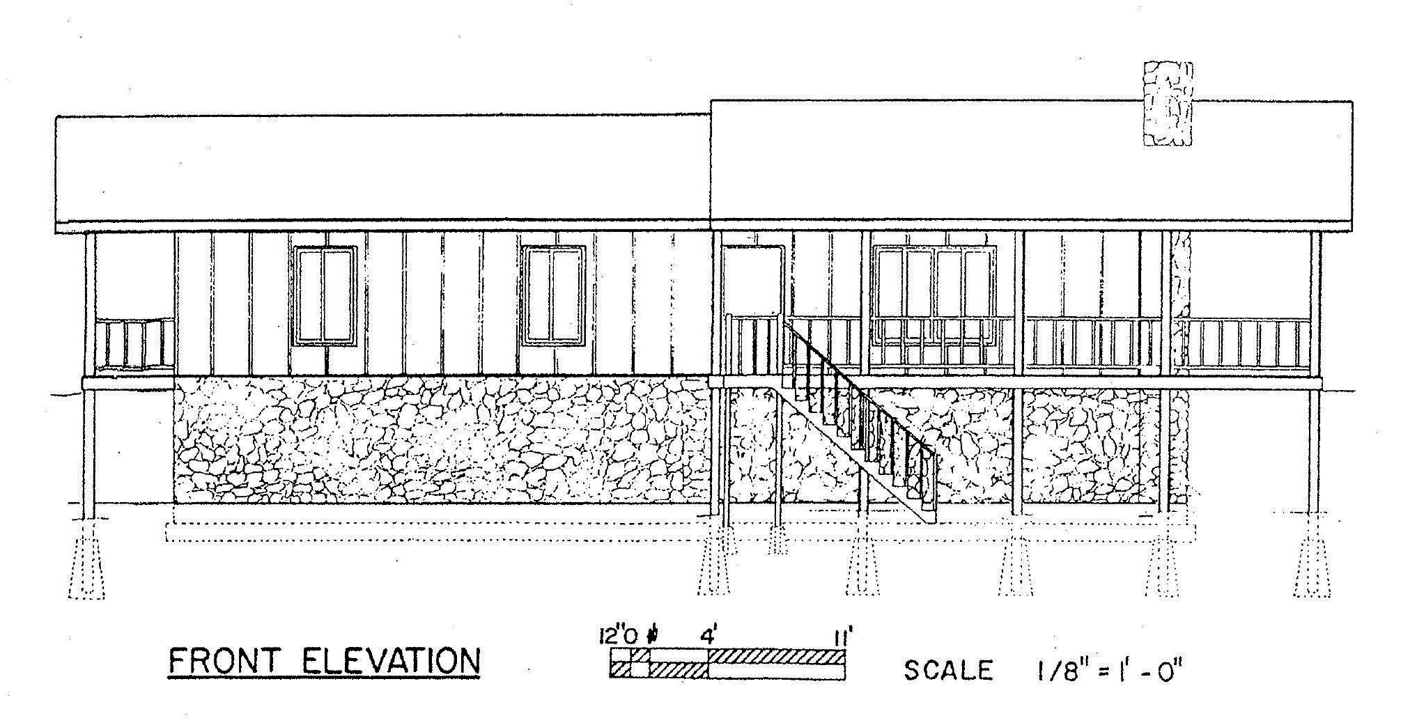 Free 3 bedroom ranch house plan with porch for sloped lot for Free ranch house plans